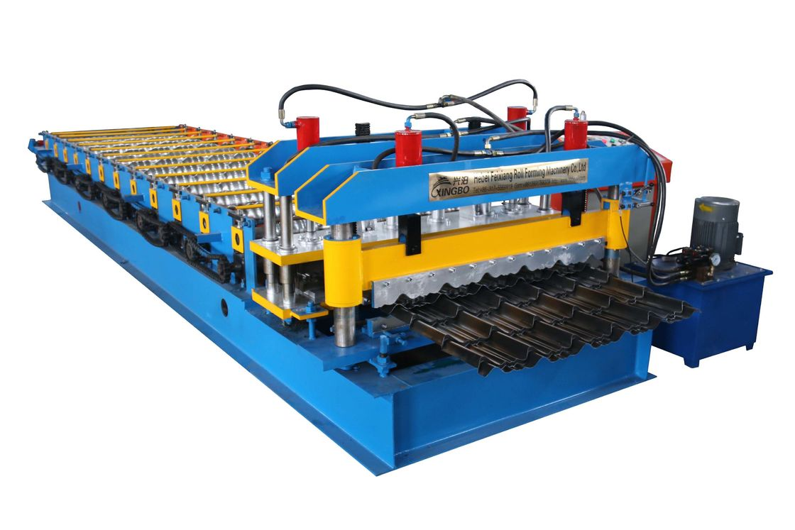 Colored Roofing Sheet Roll Forming Machine , Glazed Tile Making Machine
